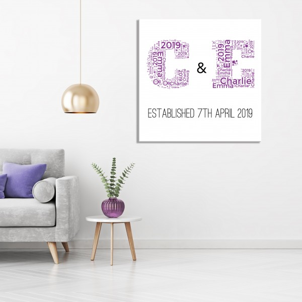 Word Art Canvas - Initials