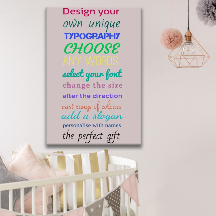 Design Your Own Typography Canvas - Grey