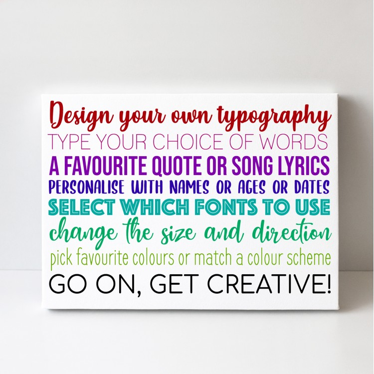 Design Your Own Typography Canvas - Landscape