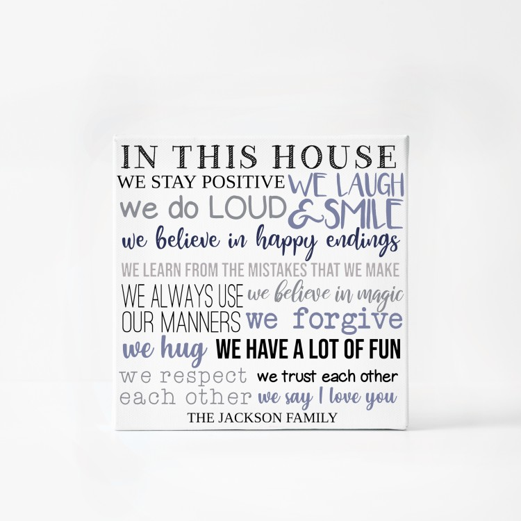 In this house we - Typography Canvas