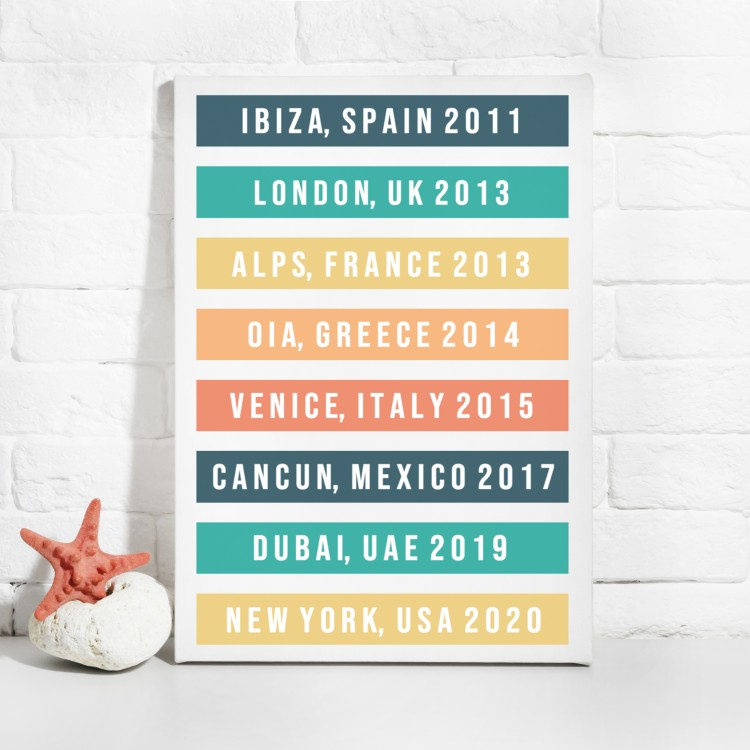 Favourite Destinations Typography Canvas