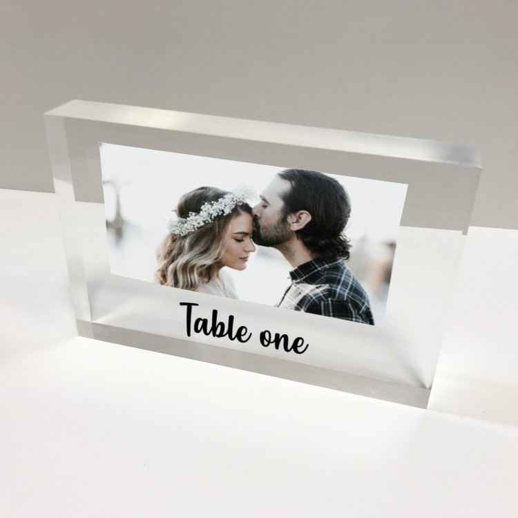 6x4 Acrylic Block Glass Token - Landscape Table number with photo