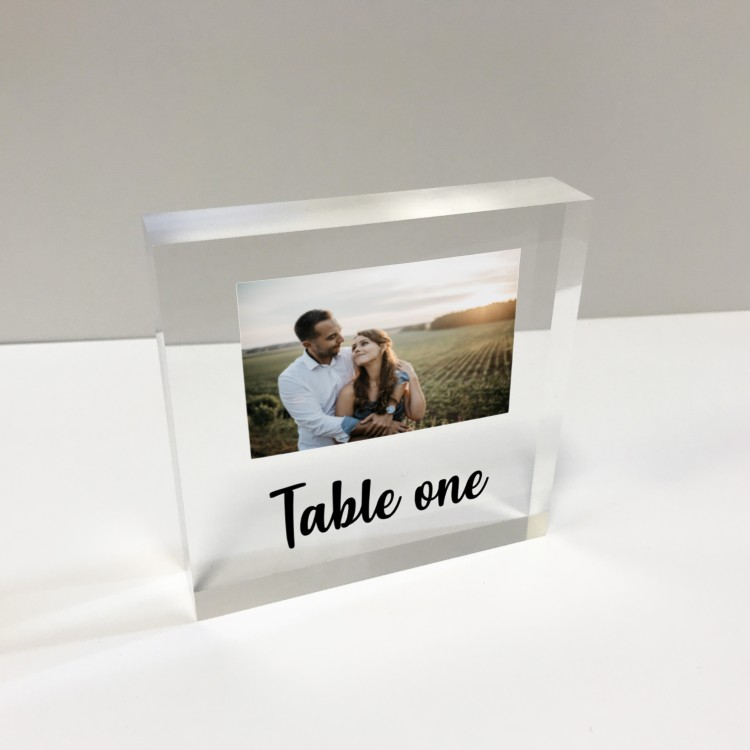 4x4 Glass Token - Square Table number with photo