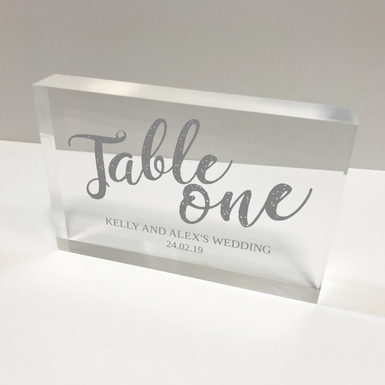 6x4 Acrylic Block Glass Token - Landscape Table number