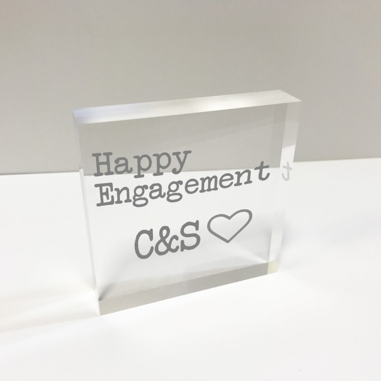 4x4 Glass Token - Happy Engagement