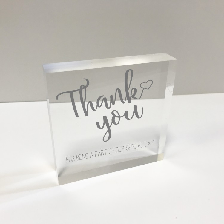 4x4 Glass Token - Thank you Wedding