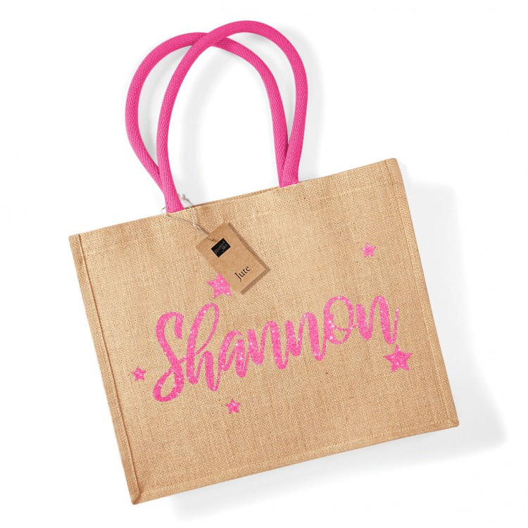 Personalised  Large Jute Bag - Various Colours