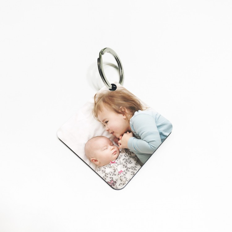 Photo Keyring- Wooden Square