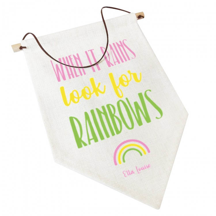 Linen Flag -  Personalised Home Decor - Look for rainbows