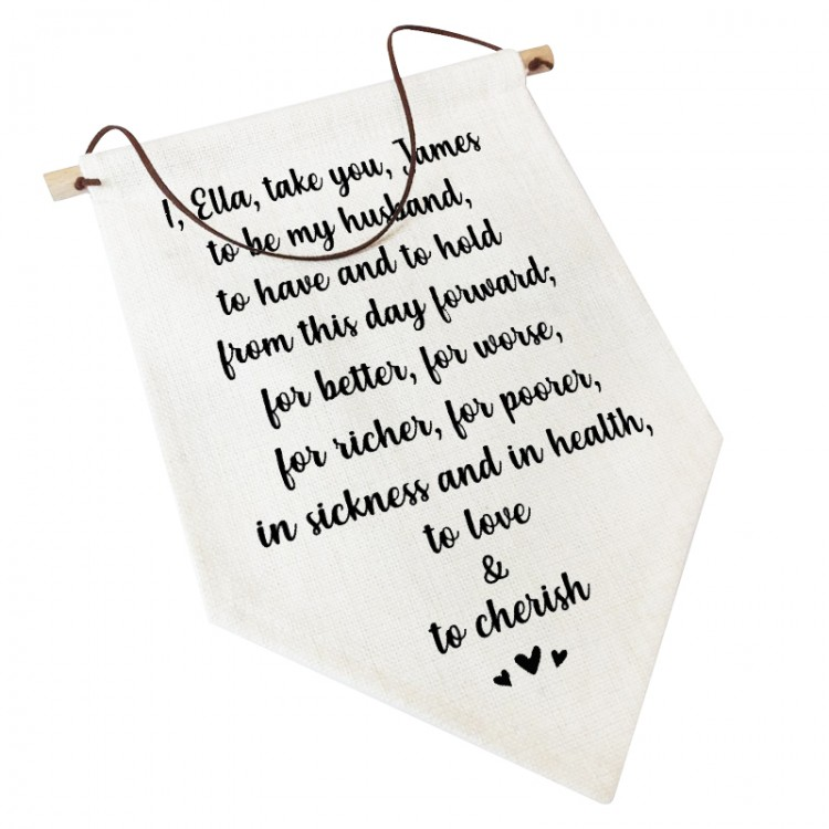 Linen Flag -  Personalised Home Decor - Wedding Vows