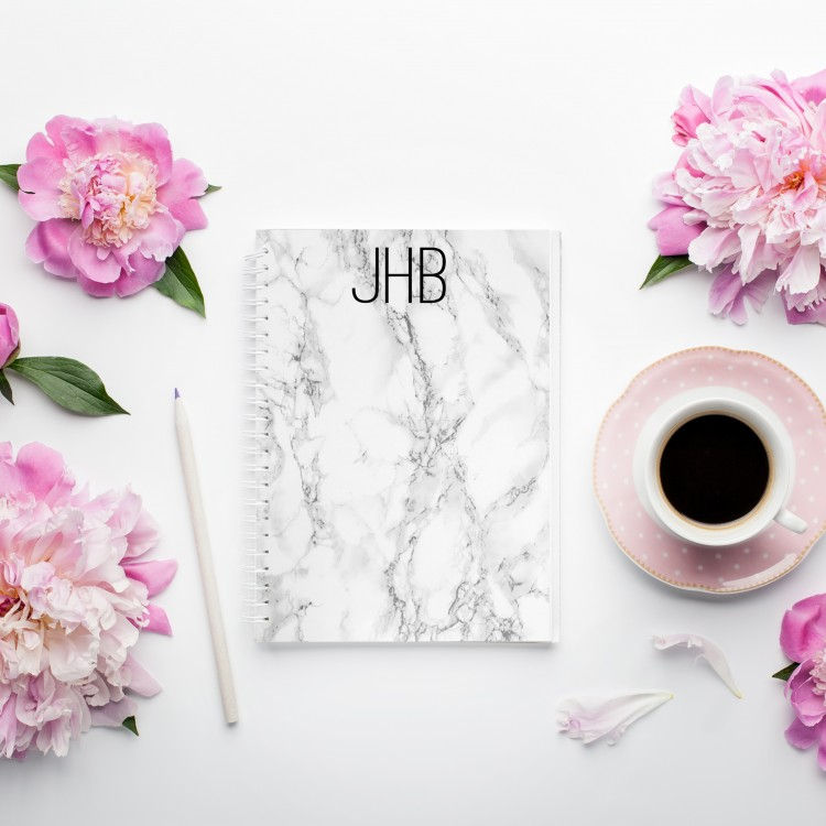 Personalised Photo Notebook - White Marble A4