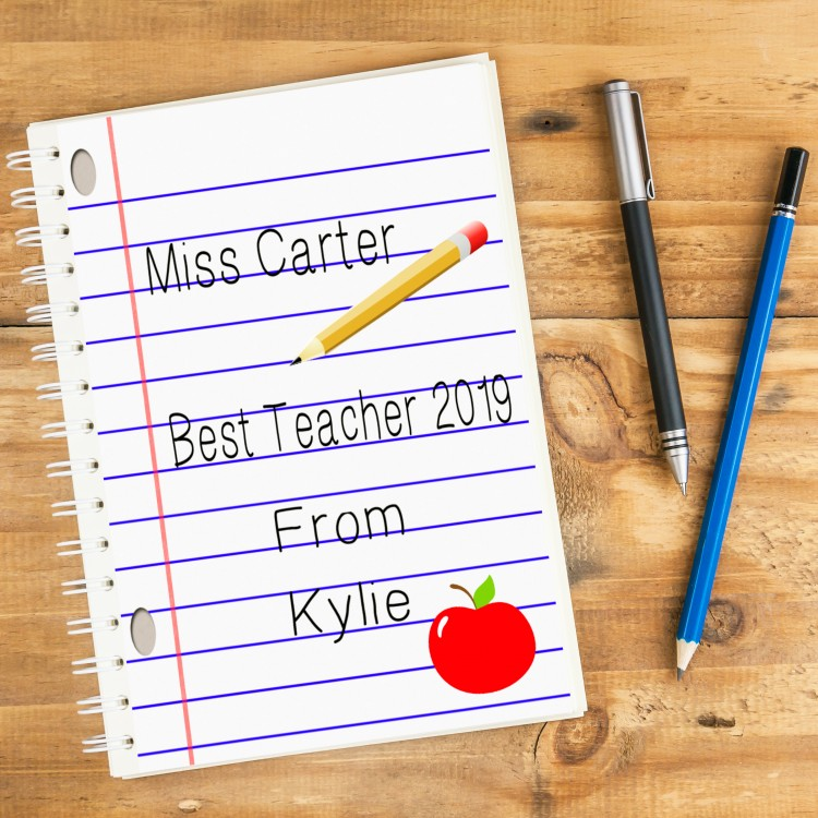 Best Teacher Personalised Notebook A4