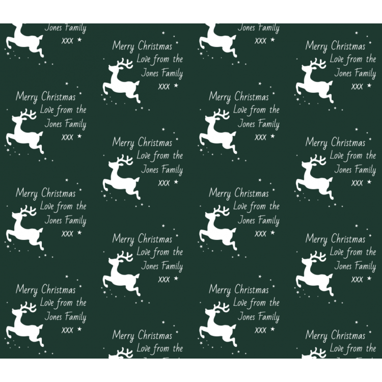 Personalised Wrapping Paper Christmas Reindeer